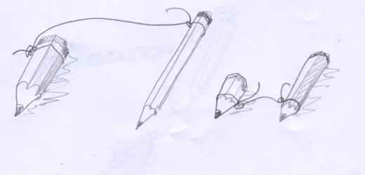 dos lápices unidos por cuerda